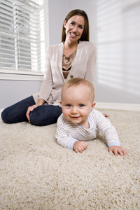 Professional floor cleaning - baby crawling on carpet