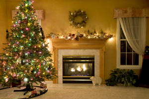Christmas Tree and Fireplace - Holiday Carpet and Floor Cleaning